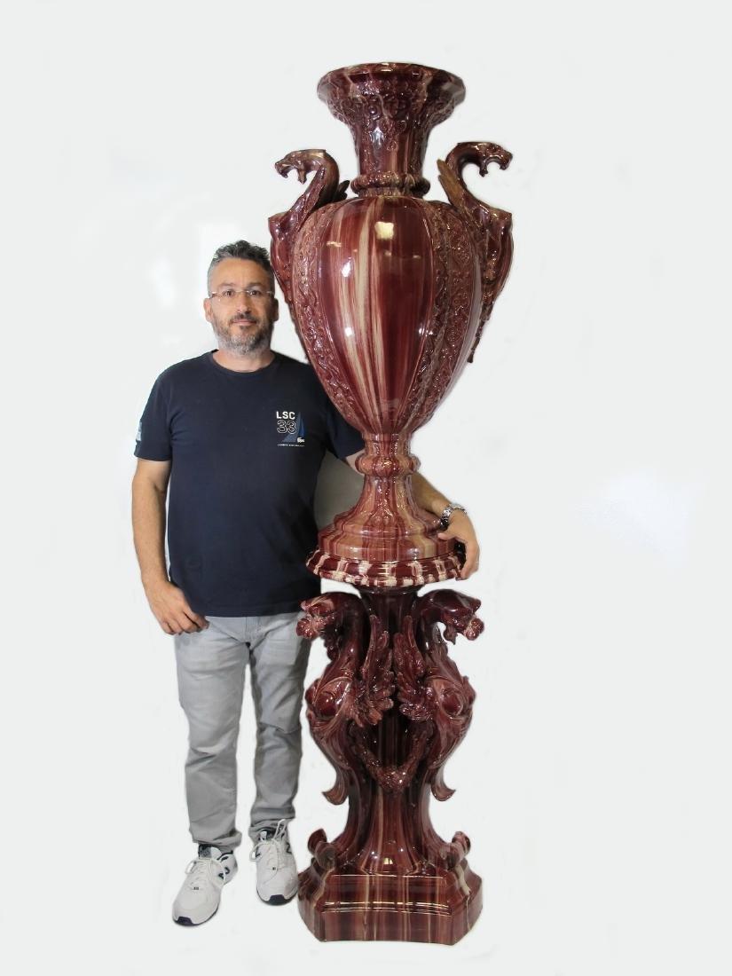 Antique huge Majolica urn with pedestal