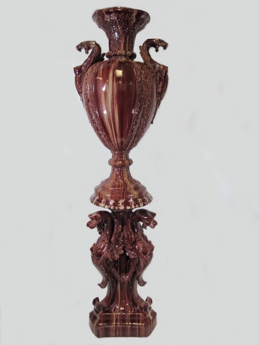 Antique huge Majolica urn with pedestal - 2