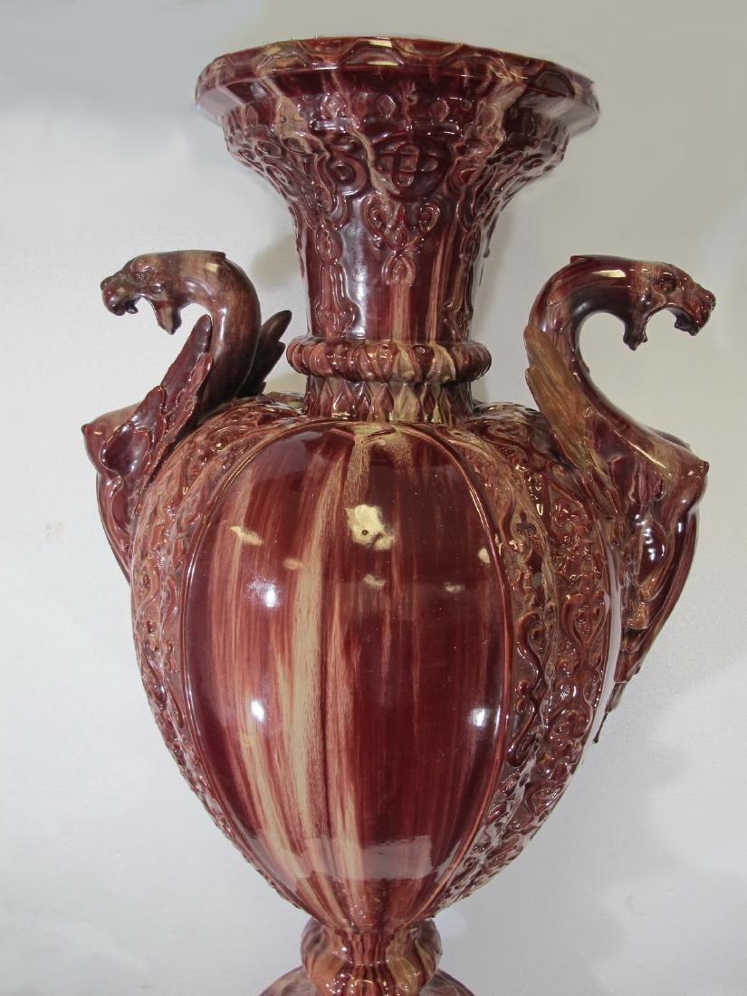 Antique huge Majolica urn with pedestal - 3