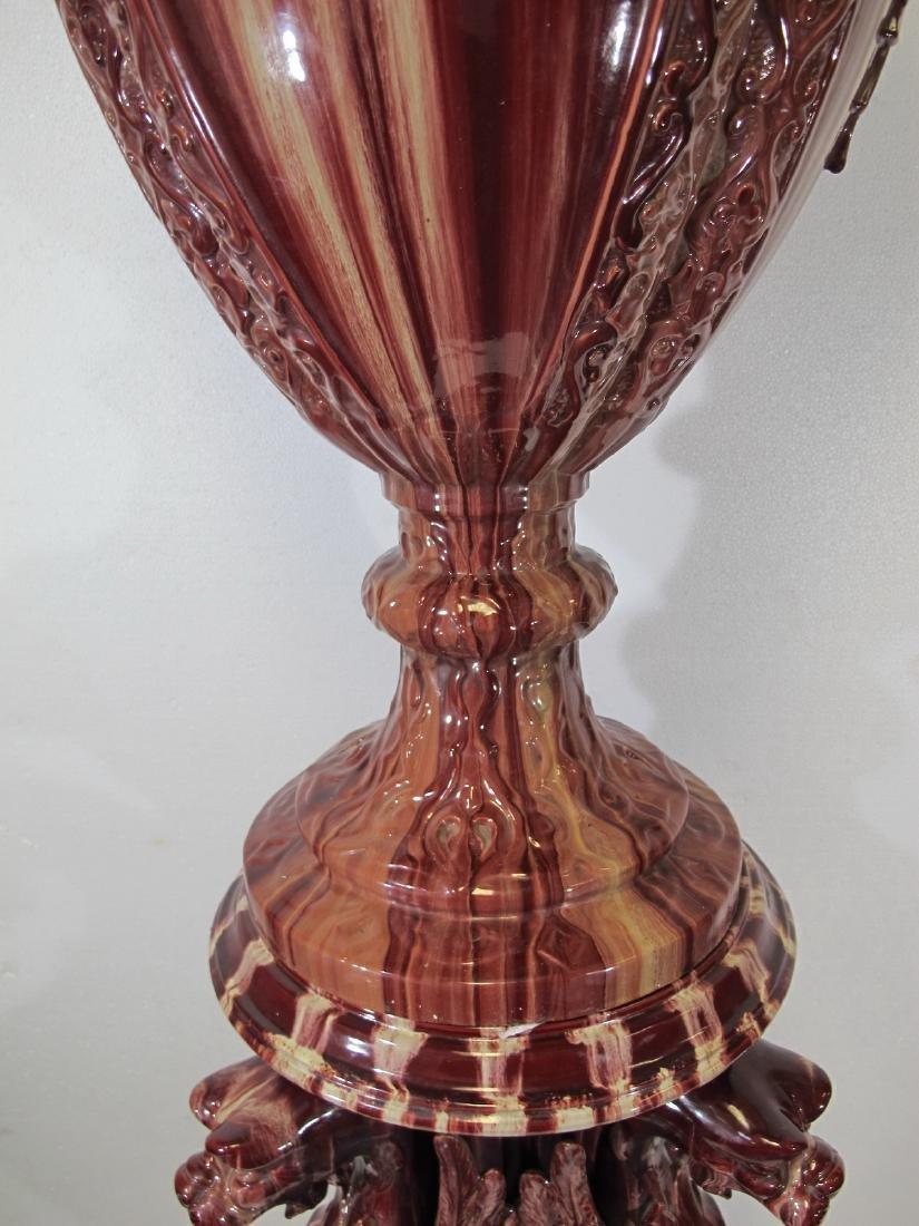 Antique huge Majolica urn with pedestal - 4