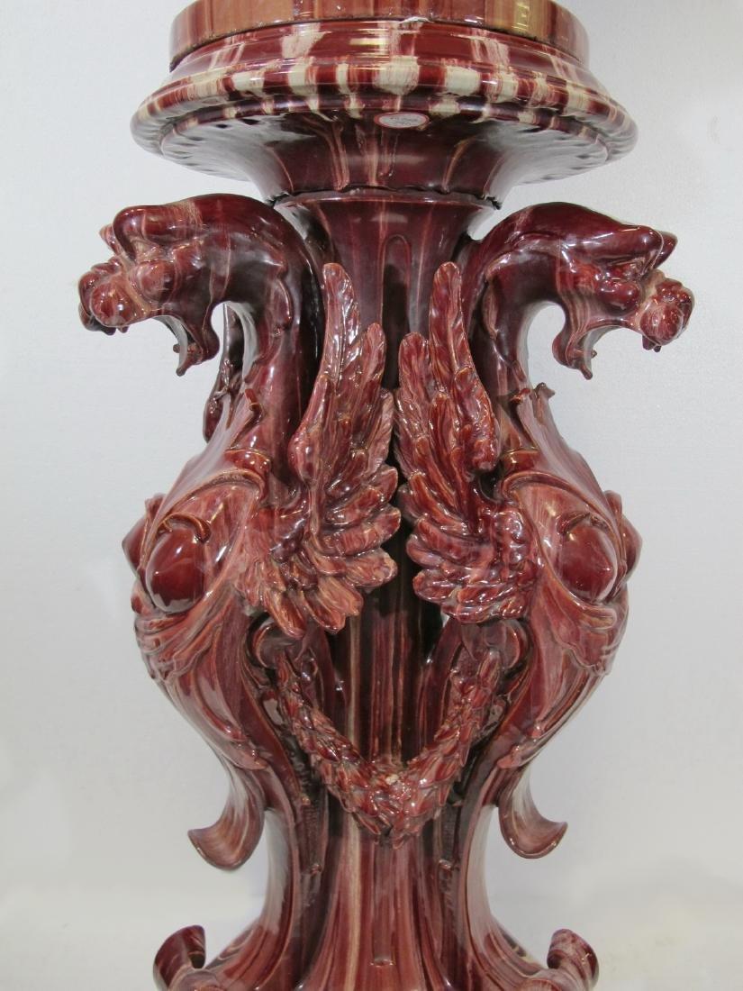 Antique huge Majolica urn with pedestal - 5
