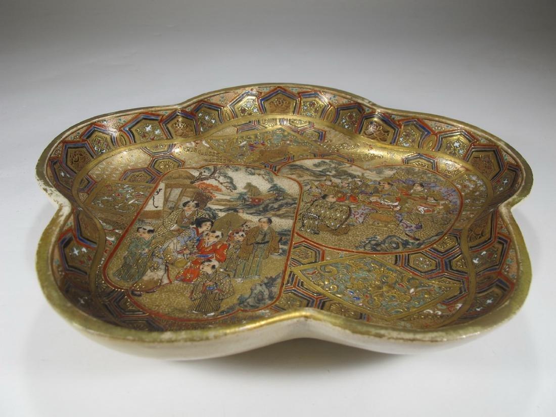 Rare antique Satsuma porcelain tray