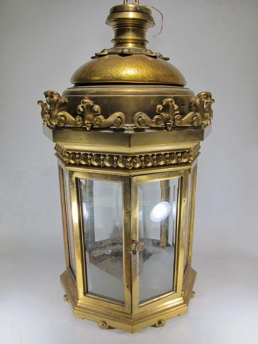 Huge antique bronze & beveled glass lantern