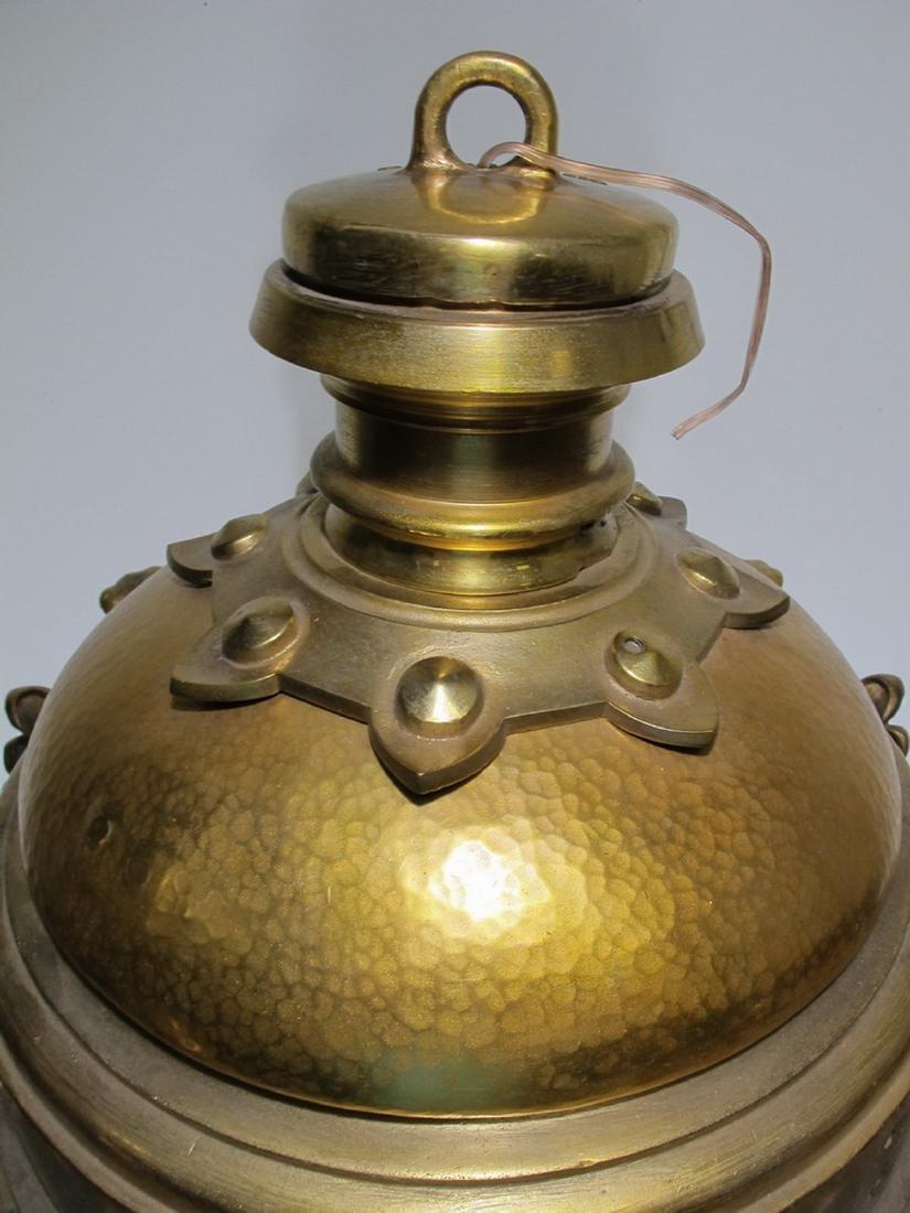 Huge antique bronze & beveled glass lantern - 2