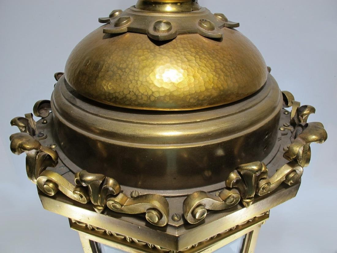 Huge antique bronze & beveled glass lantern - 3