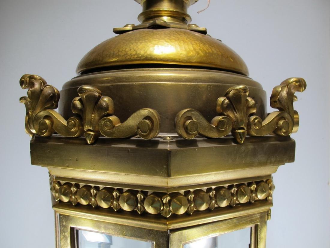 Huge antique bronze & beveled glass lantern - 4