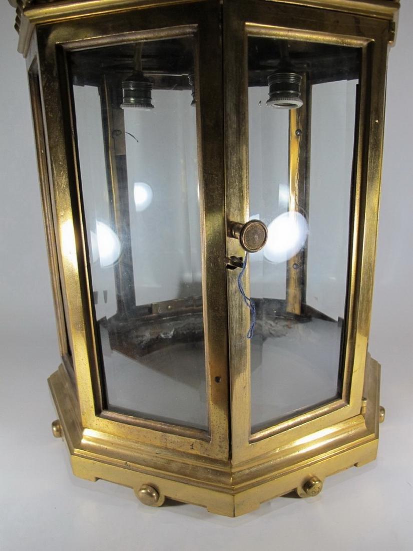Huge antique bronze & beveled glass lantern - 5
