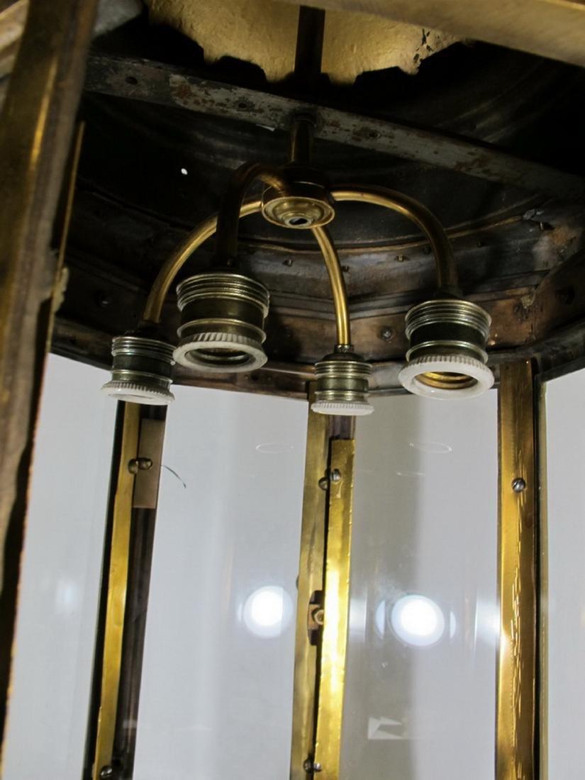 Huge antique bronze & beveled glass lantern - 6