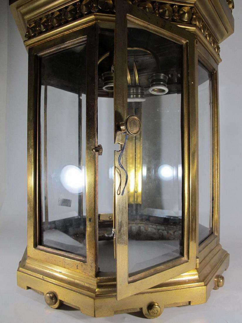 Huge antique bronze & beveled glass lantern - 7