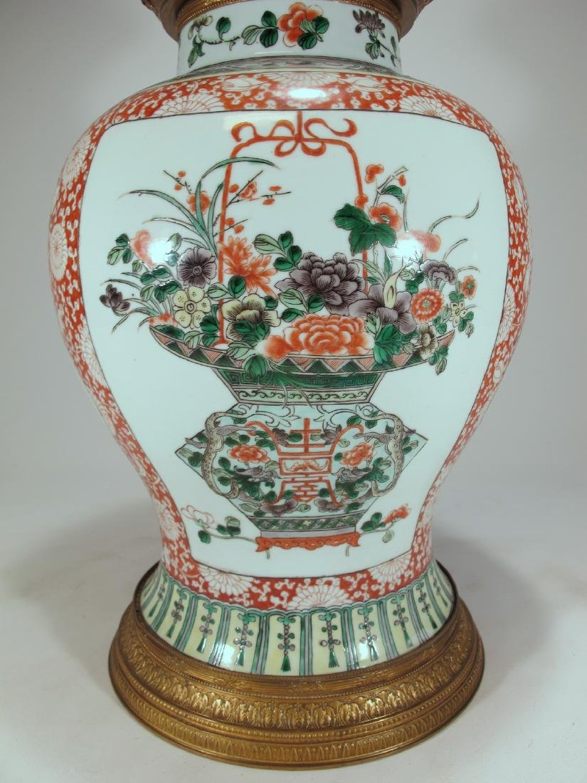 Antique French Chinoserie bronze & porcelain lided vase - 5