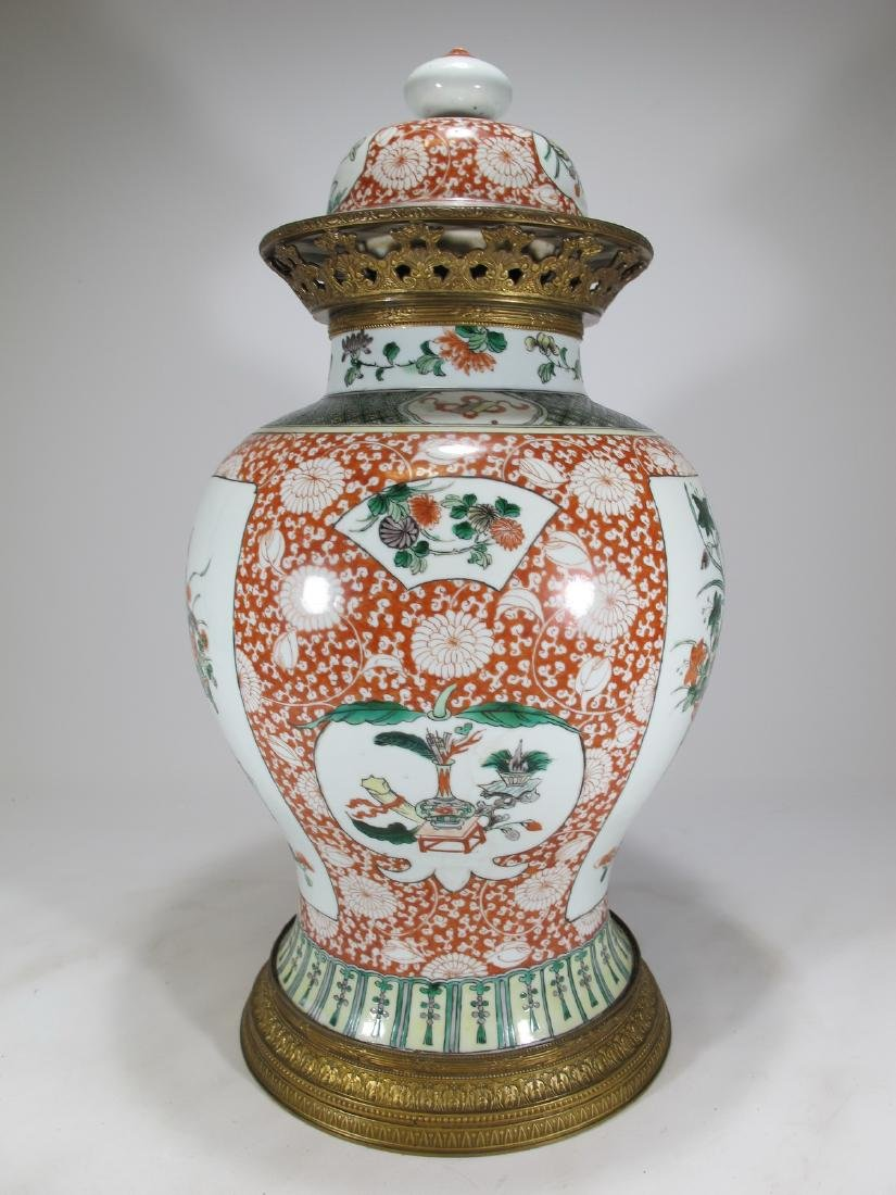 Antique French Chinoserie bronze & porcelain lided vase - 7