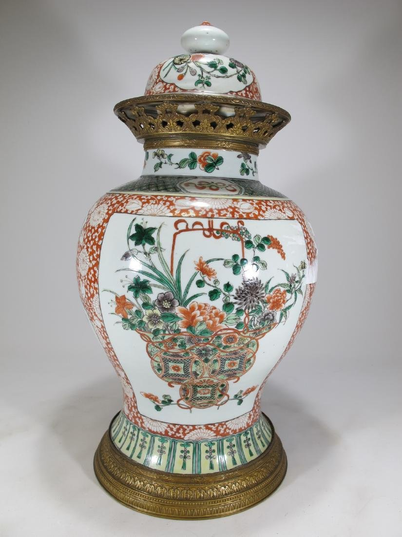 Antique French Chinoserie bronze & porcelain lided vase - 8