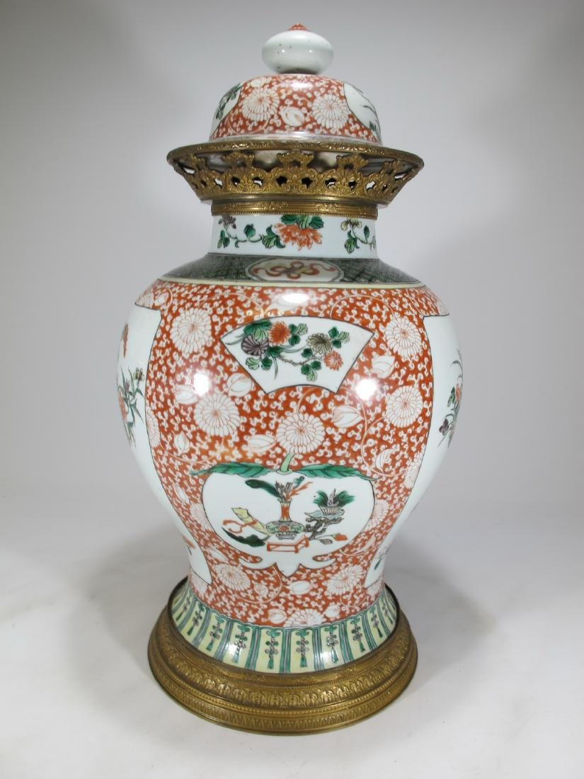 Antique French Chinoserie bronze & porcelain lided vase - 9