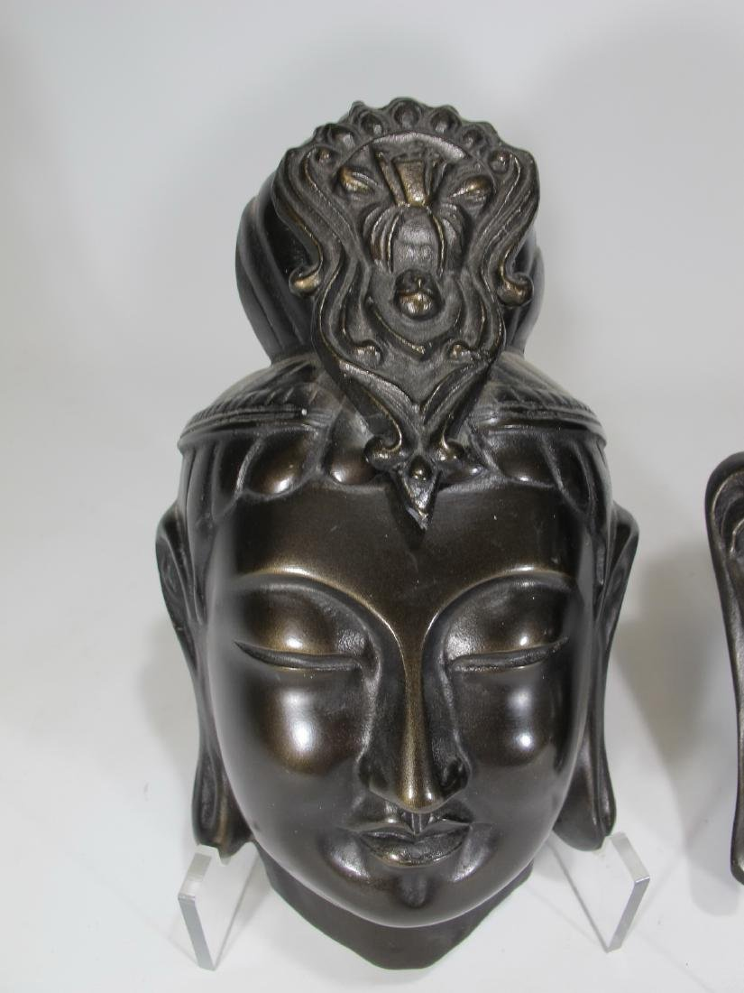 Chinese pair of patinated metal masks - 2