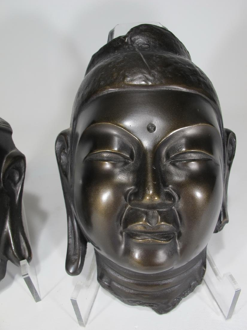 Chinese pair of patinated metal masks - 3