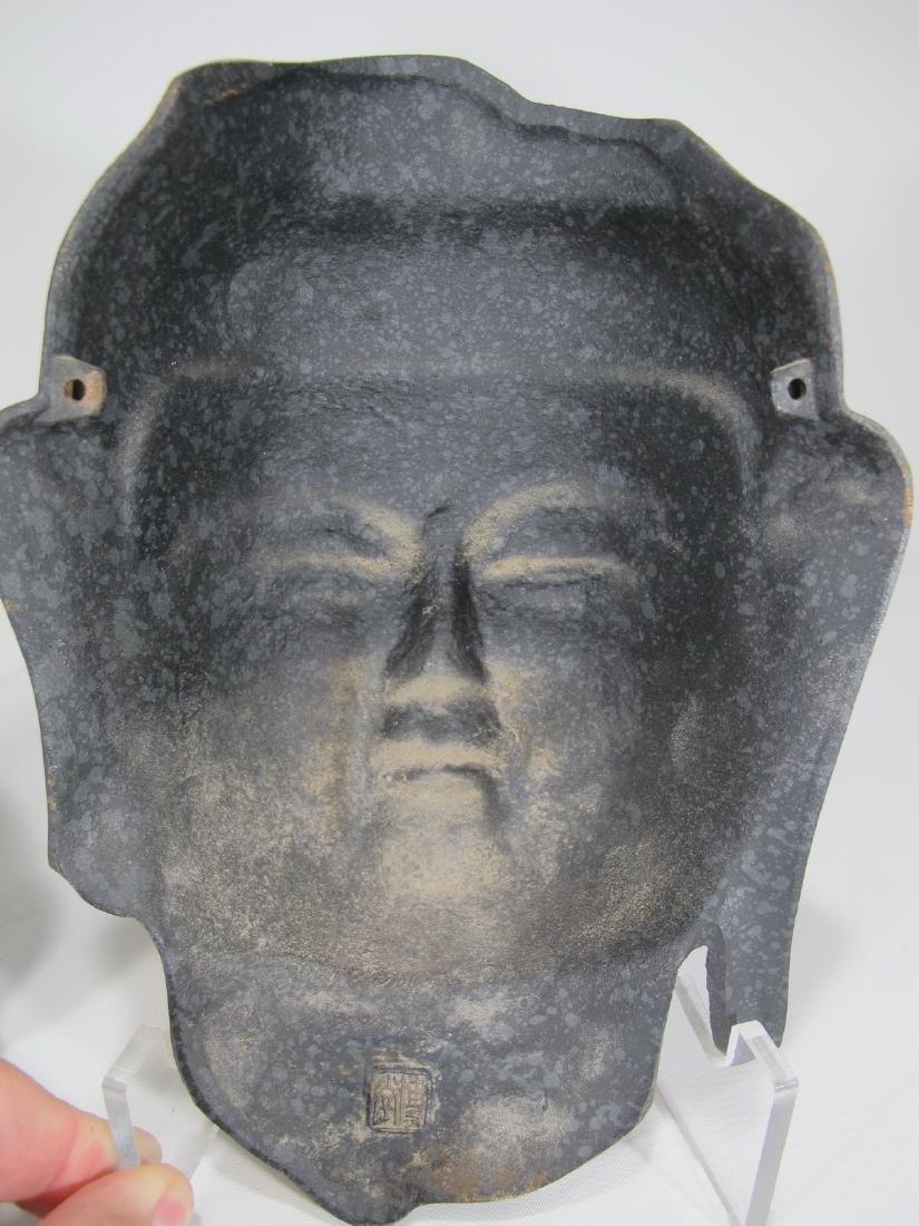 Chinese pair of patinated metal masks - 6