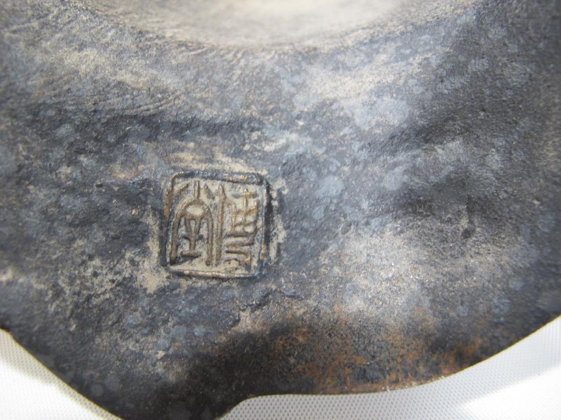 Chinese pair of patinated metal masks - 7