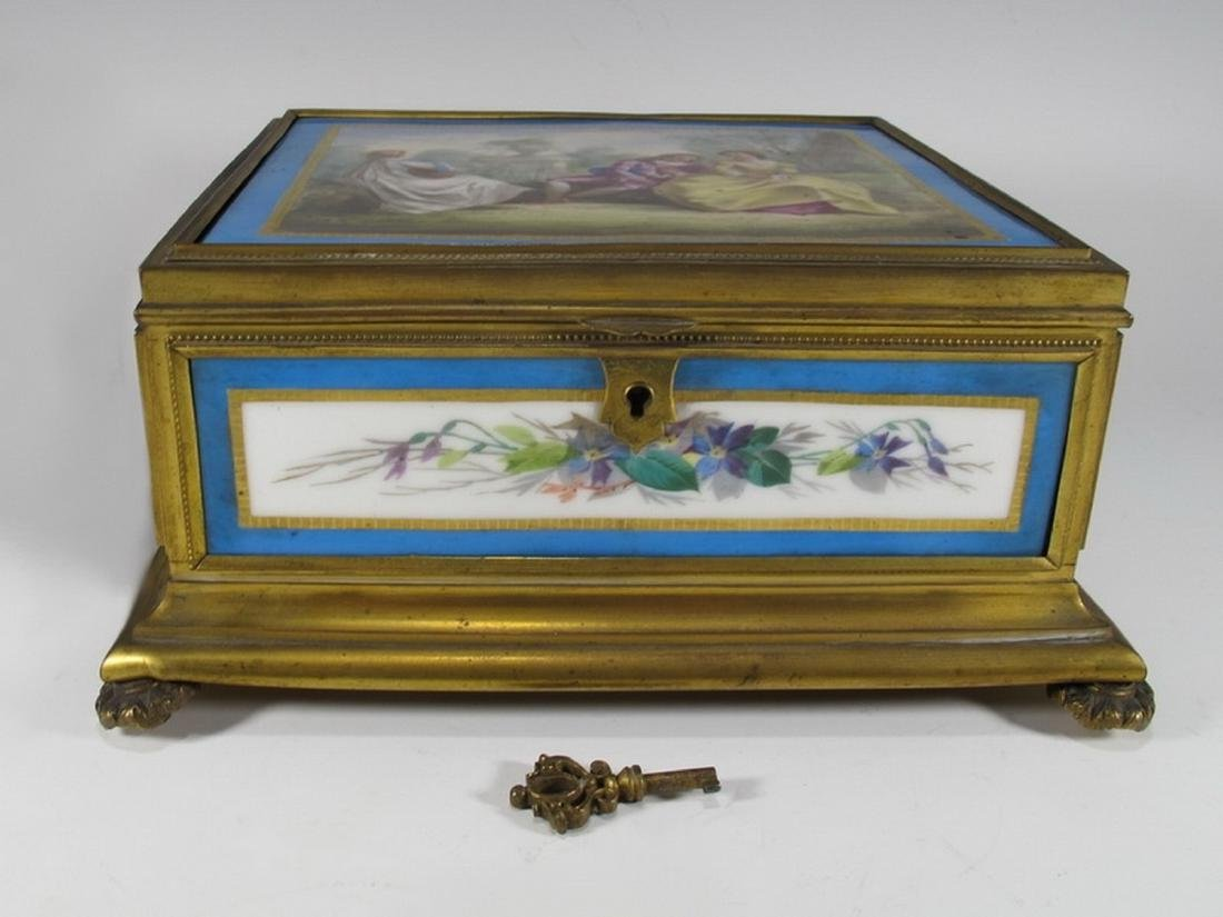 Antique Sevres bronze & porcelain jewelry box