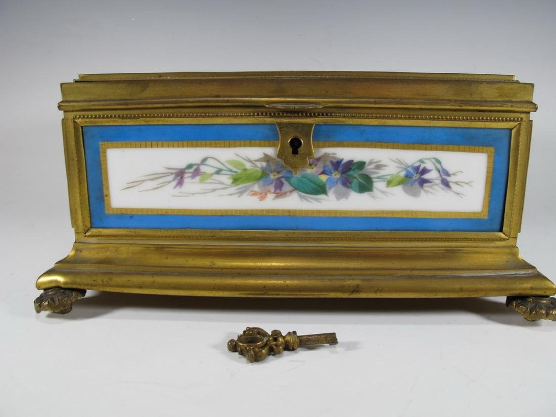Antique Sevres bronze & porcelain jewelry box - 2
