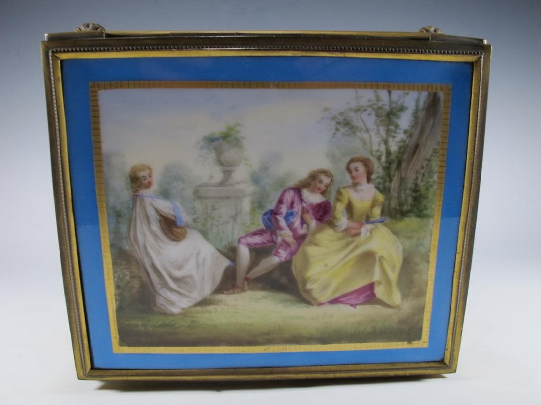 Antique Sevres bronze & porcelain jewelry box - 3