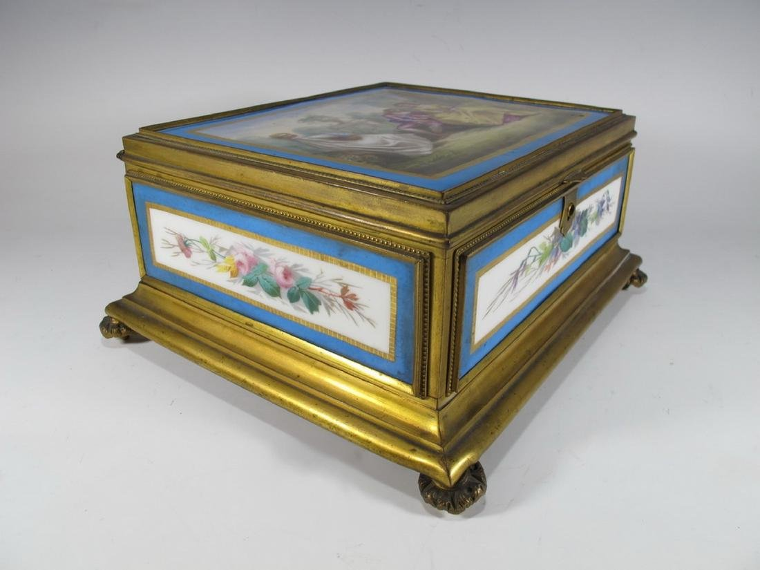 Antique Sevres bronze & porcelain jewelry box - 4
