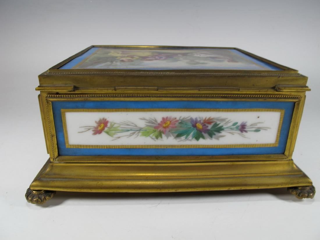 Antique Sevres bronze & porcelain jewelry box - 5