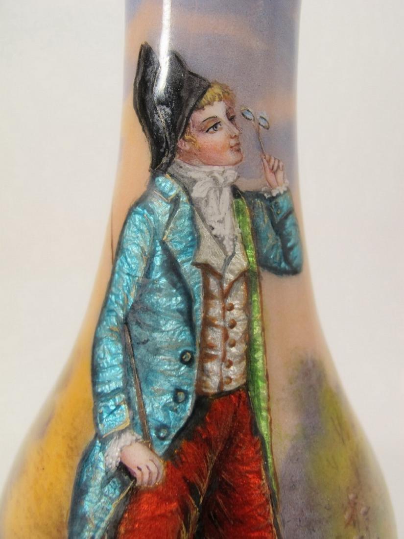 Antique French enamel signed vase - 2