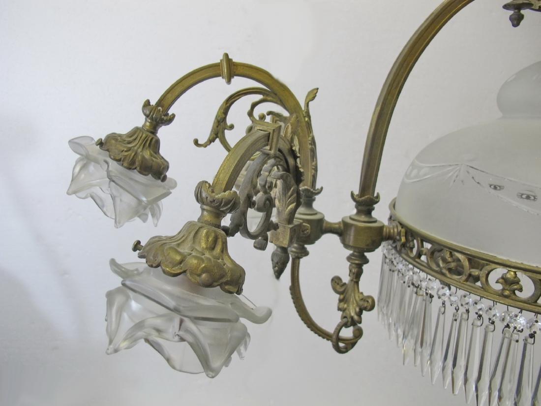 Antique French bronze & glass chandelier - 4
