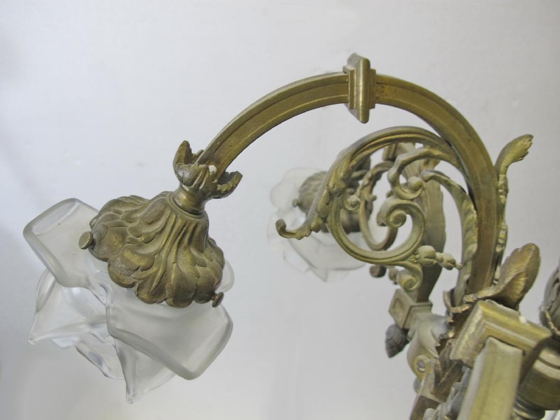 Antique French bronze & glass chandelier - 5