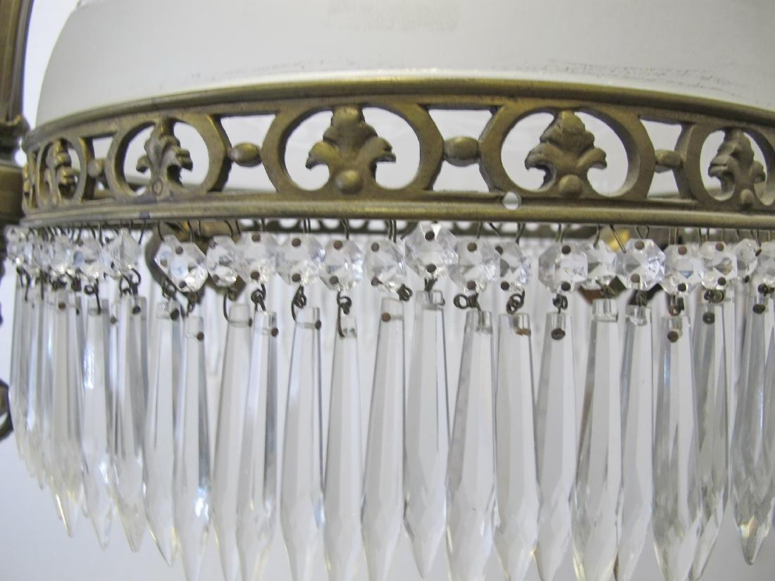 Antique French bronze & glass chandelier - 7