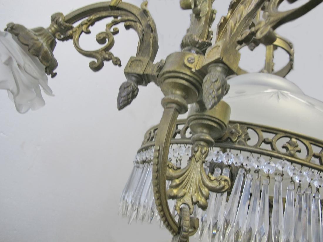 Antique French bronze & glass chandelier - 9