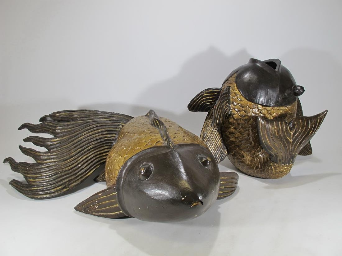 2 vintage Chinese carved wood fishes sculptures
