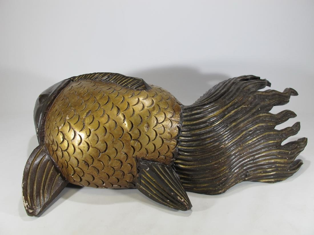 2 vintage Chinese carved wood fishes sculptures - 4