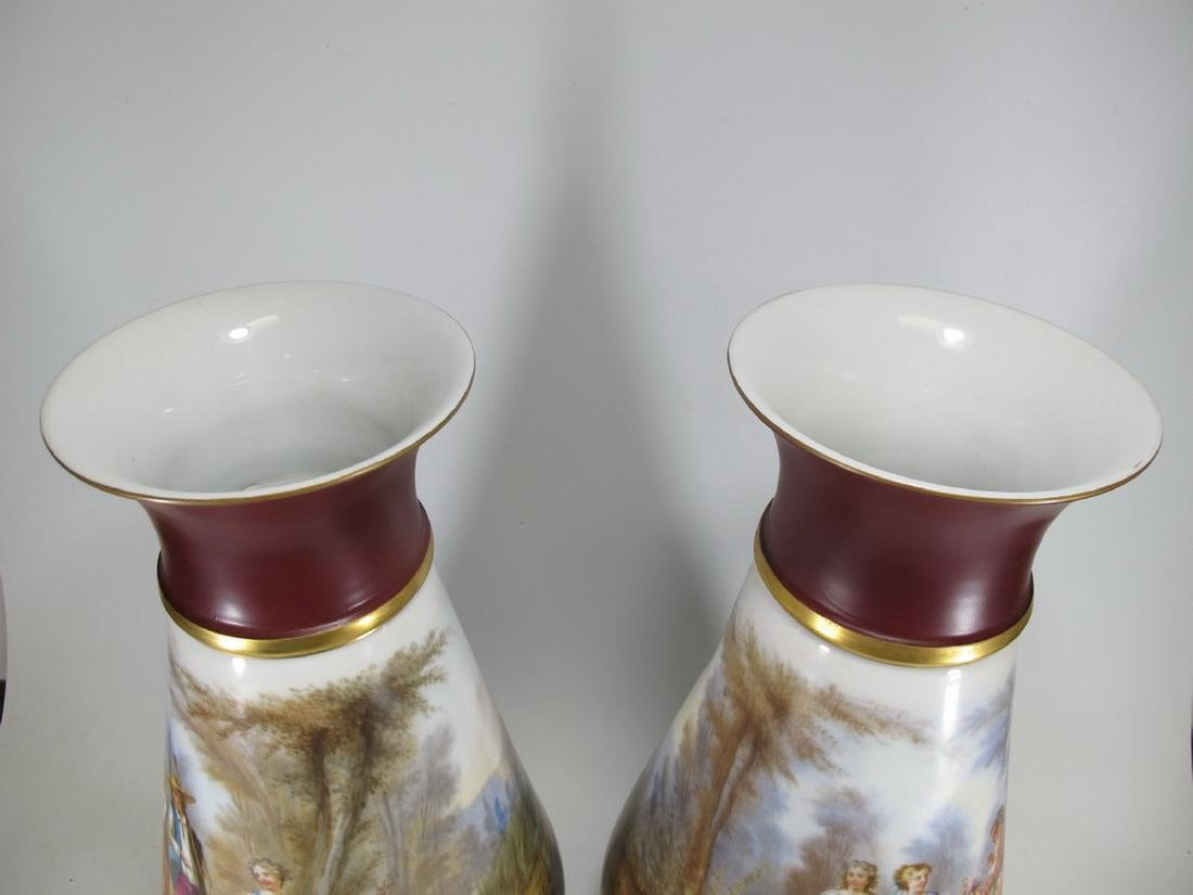 Antique pair of French Sevres porcelain vases - 2
