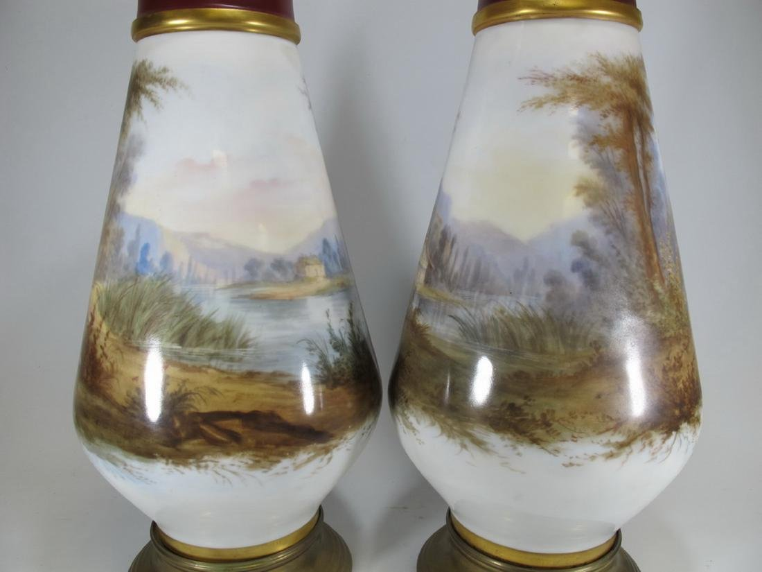 Antique pair of French Sevres porcelain vases - 6