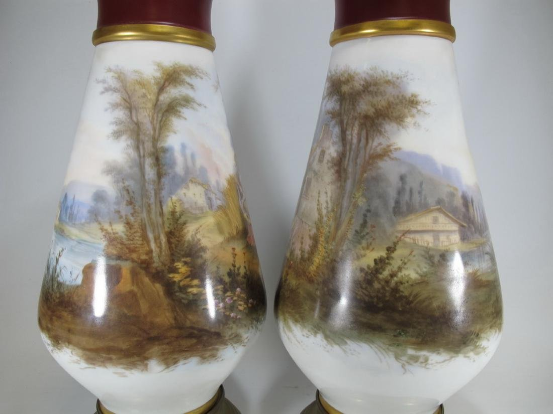 Antique pair of French Sevres porcelain vases - 7