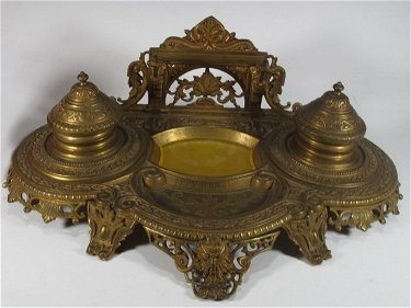 Antique French Bronze Glass Inkwell Feb 28 2019 Antiques Online Auctions In Fl