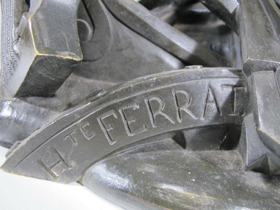 Hippolyte FERRAT (1822-1882) huge bronze sculpture lamp - 8