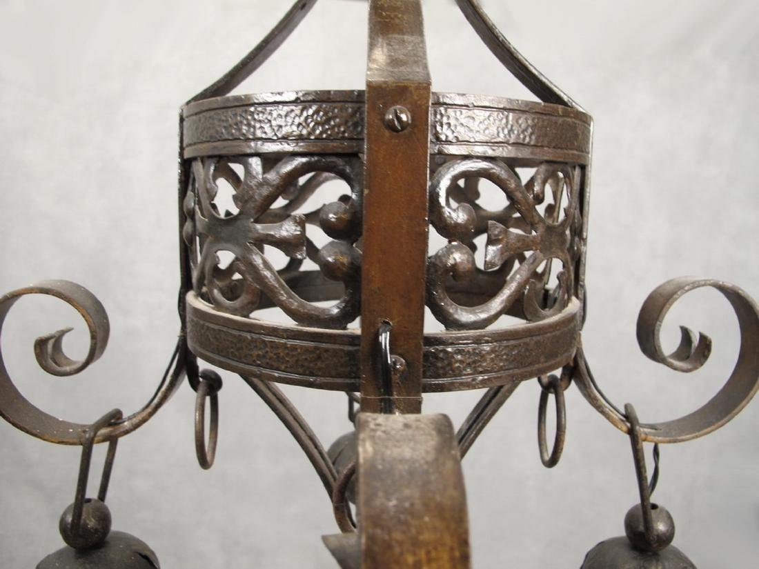 Antique French hammered iron chandelier - 3