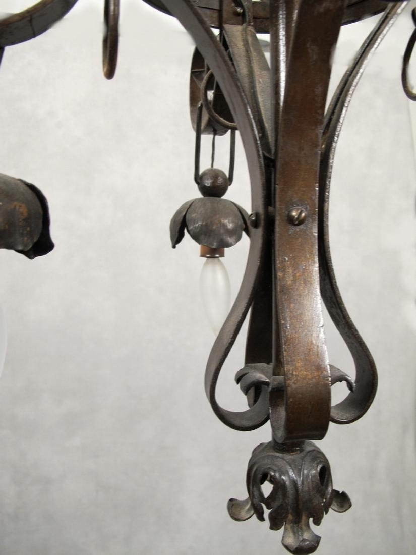 Antique French hammered iron chandelier - 4