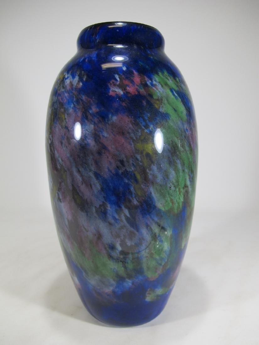 Muller Fres Luneville blue glass vase, signed