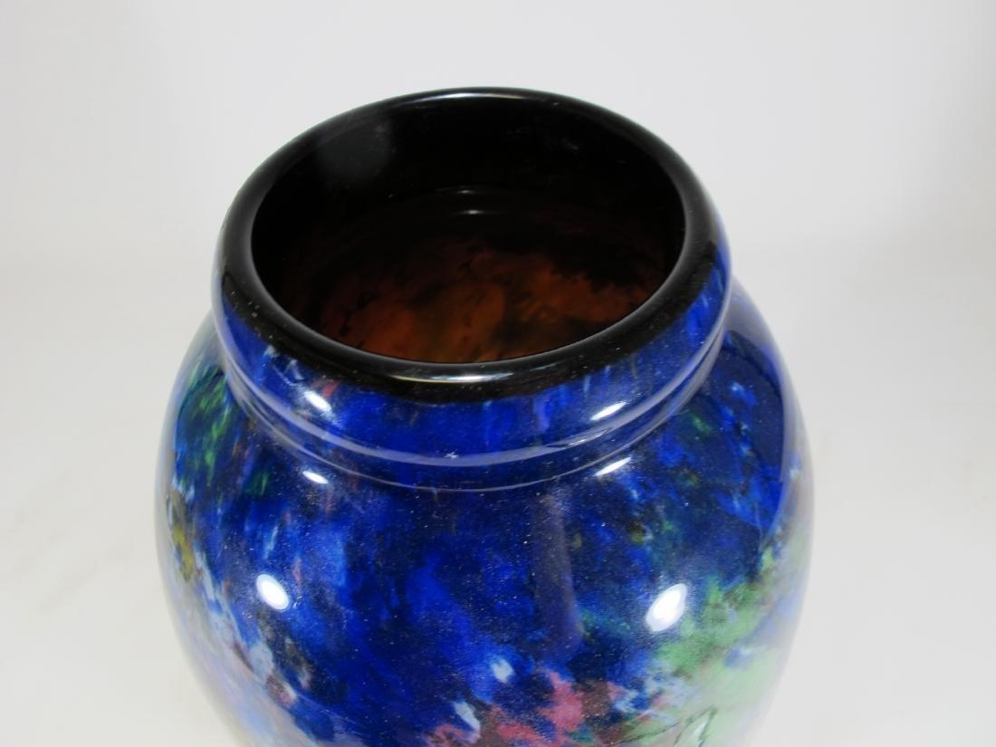 Muller Fres Luneville blue glass vase, signed - 2