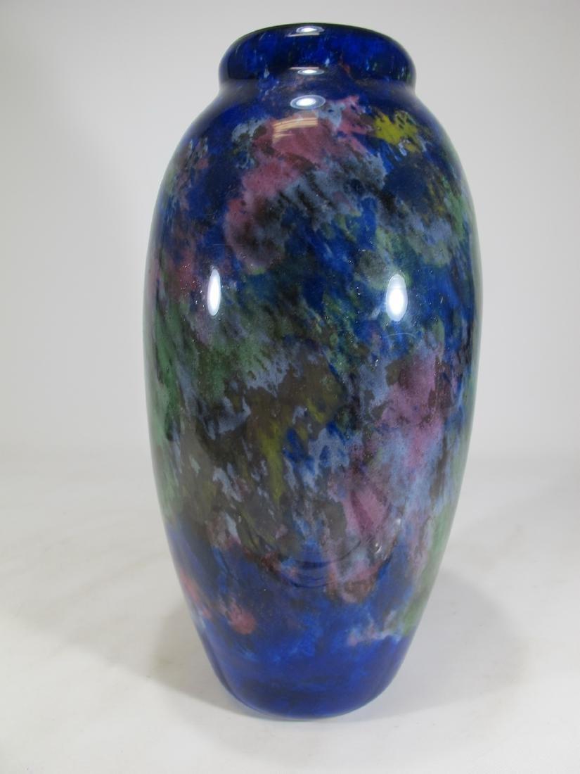 Muller Fres Luneville blue glass vase, signed - 3