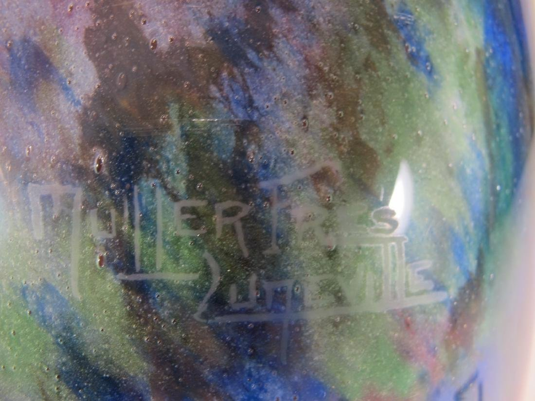 Muller Fres Luneville blue glass vase, signed - 5