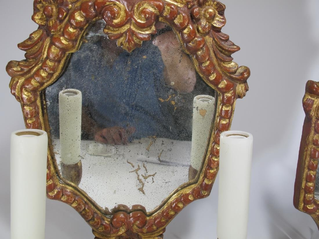 Vintage pair of mirrored gilded sconces - 5