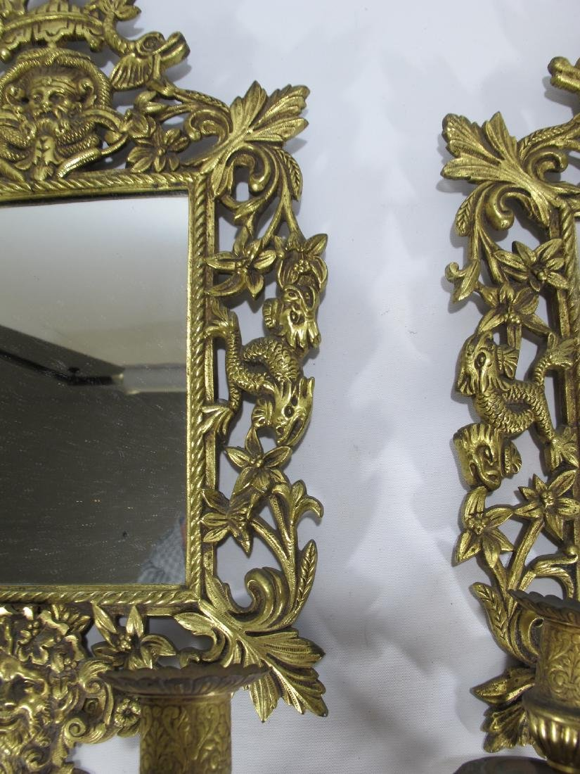 Vintage pair of bronze mirrored wall sconces - 3