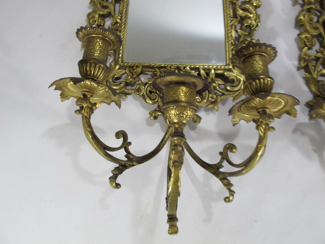 Vintage pair of bronze mirrored wall sconces - 5