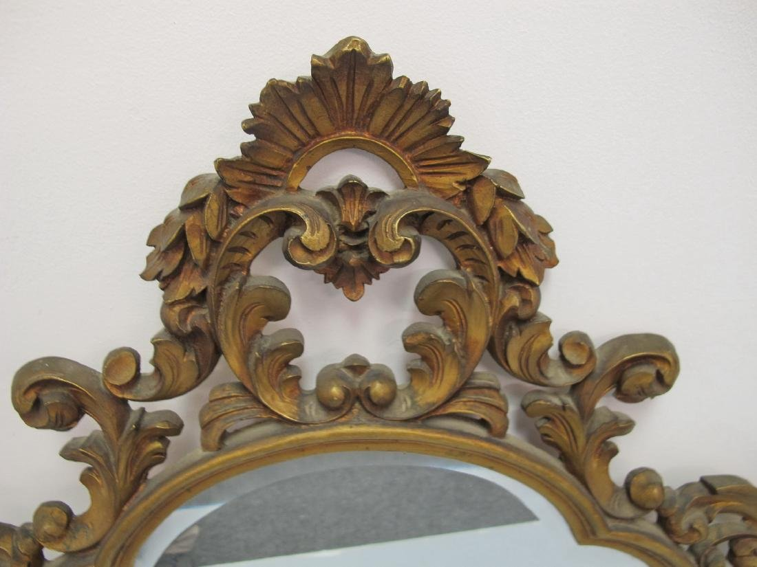 Vintage French Louis XV style gilt carved wood mirror - 2