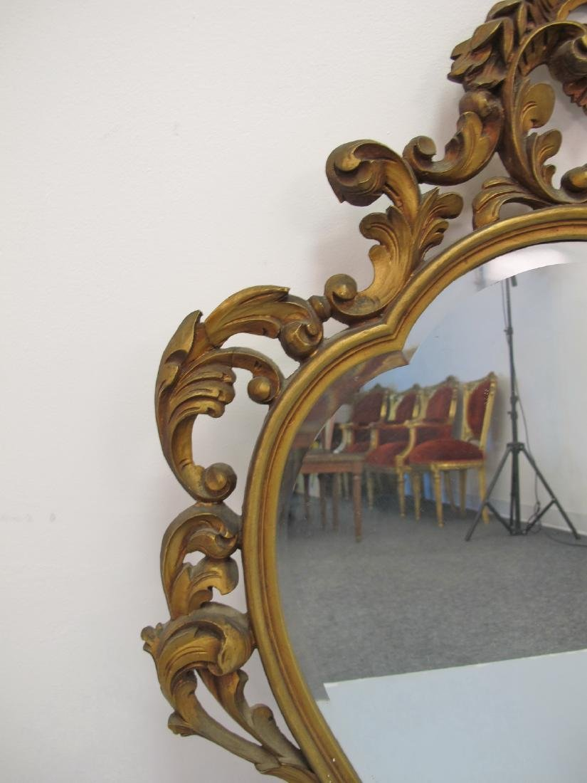 Vintage French Louis XV style gilt carved wood mirror - 3