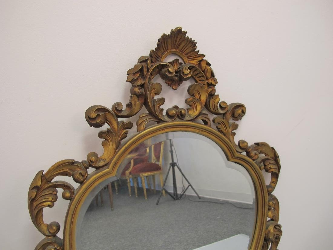 Vintage French Louis XV style gilt carved wood mirror - 6